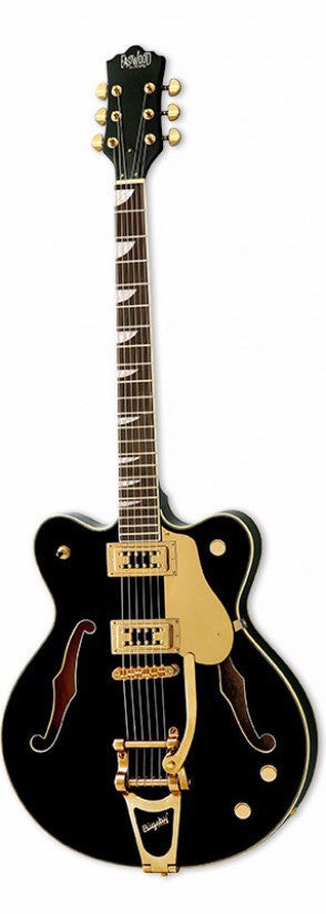 Eastwood Airline Classic 6 Deluxe Semi Hollow Guitar w/ Bigsby Black