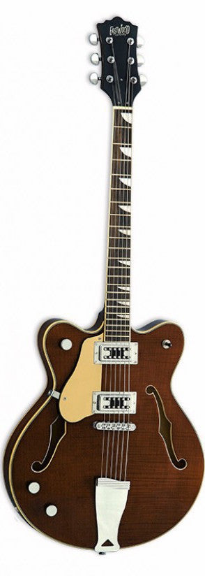 Eastwood Airline Classic 6 Left Handed Semi Hollow Guitar Walnut