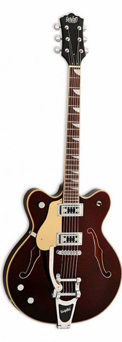 Eastwood Airline Classic 6 Left Handed Deluxe Semi Hollow Guitar w/ Bigsby Walnut
