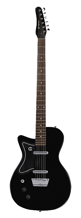Danelectro Baritone Electric Guitar Black Dolphin Headstock Lefty
