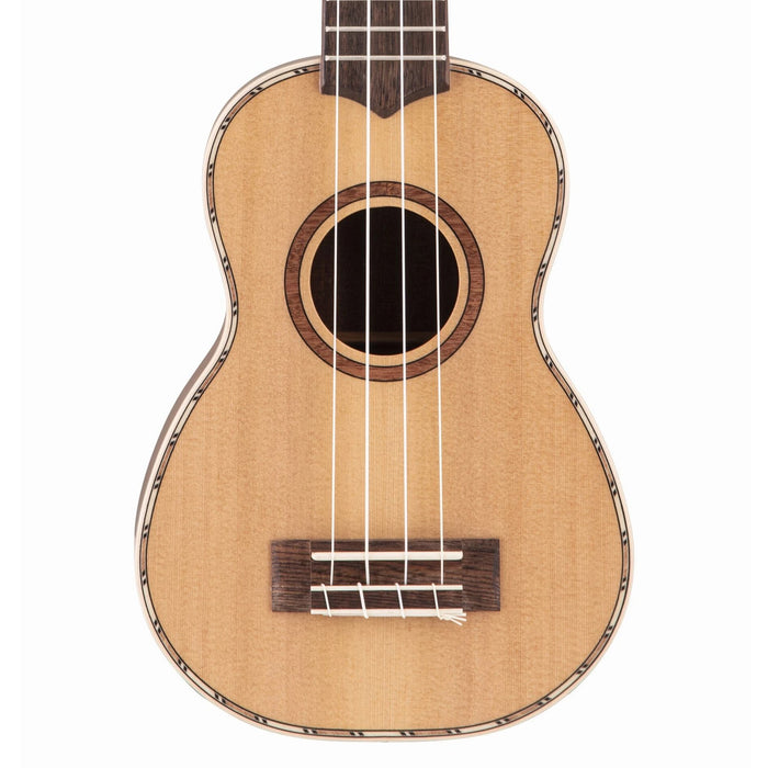 Lanikai CDST-S Cedar Solid Top Soprano Ukulele Natural with Gig Bag