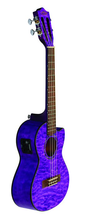 Lanikai QM-PUCET Quilted Maple Tenor Ukulele Electric Trans Purple with Foam Case