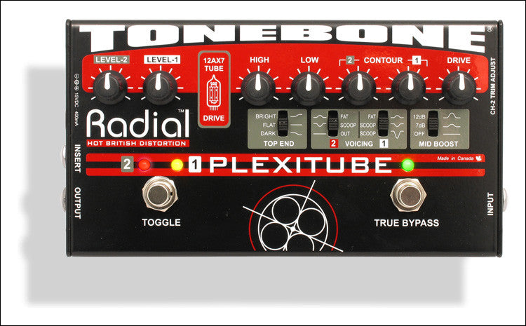 Radial Engineering Tonebone Plexitube 12AX7 2 Channel Tube Distortion Guitar Effect Pedal