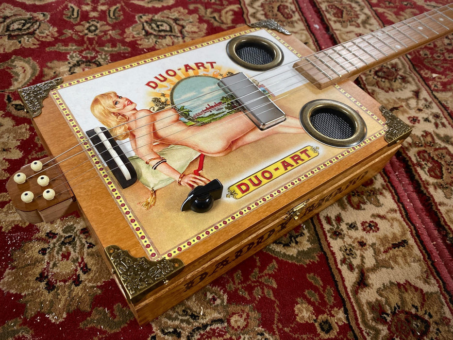 Daddy Mojo Classic Series 5 String Pin Up Duo-Art Cigar Box Guitar