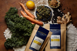 Open image in slideshow, Lemon Ginger Miso Vegan Kale Chips - Kaleidoscope Foods