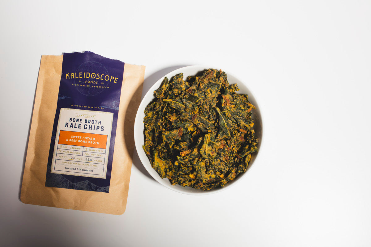 Sweet Potato & Beef Bone Broth Kale Chips - Kaleidoscope Foods Organic Kale Chips
