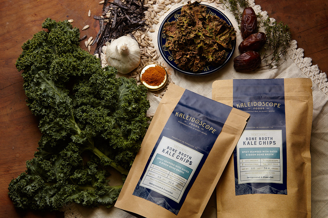Bone Broth Kale Chips - Mixed Flavor Case - Kaleidoscope Foods Organic Kale Chips