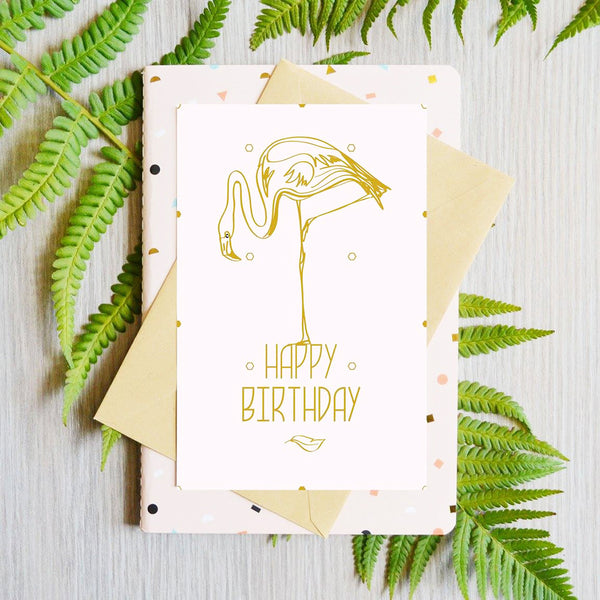 Card Happy Birthday Flamingo