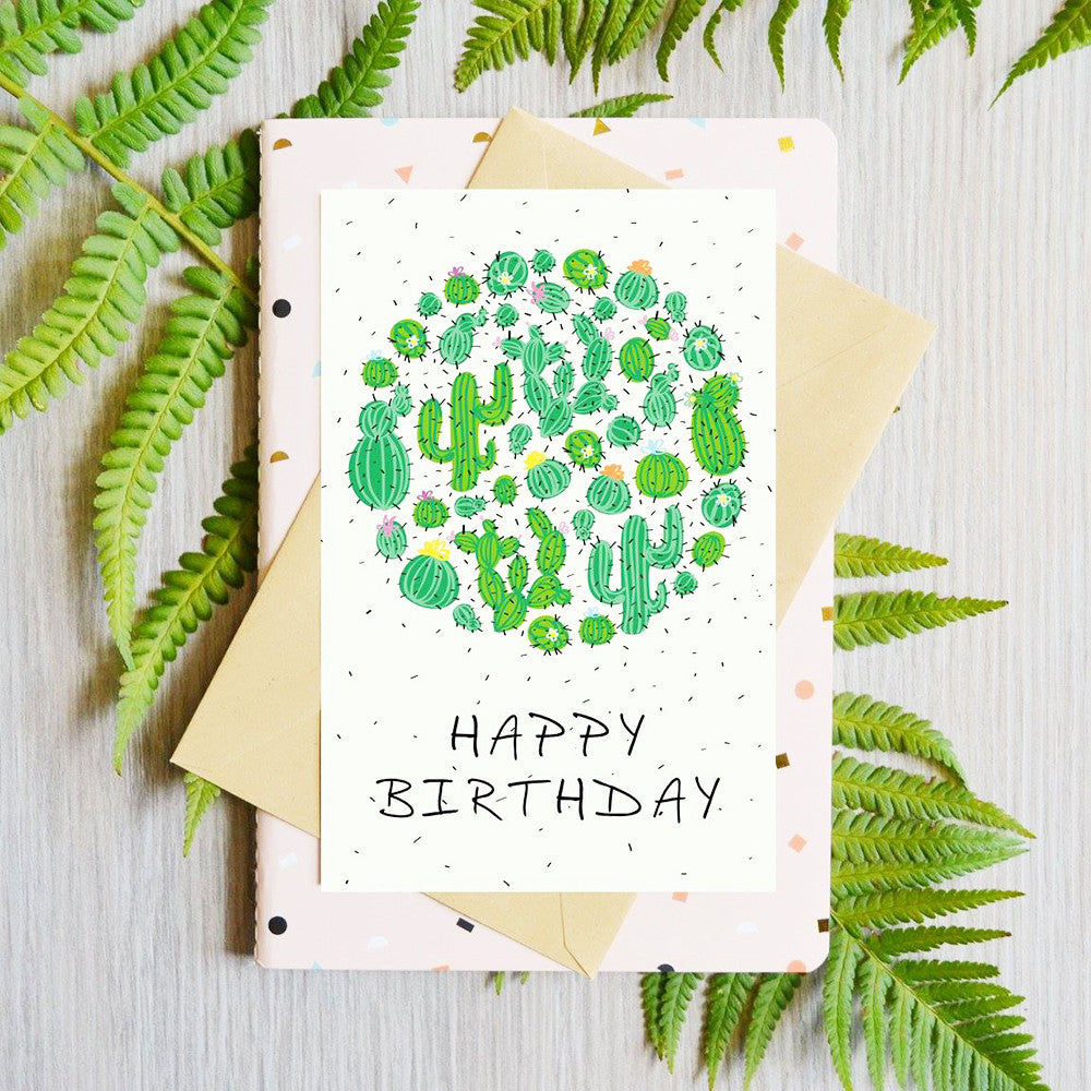 Card Happy Birthday Cactus