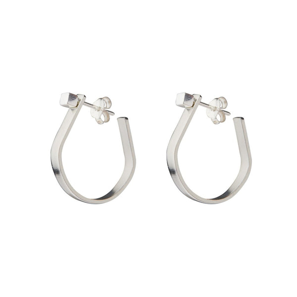 Silver Bar Hoops Earrings