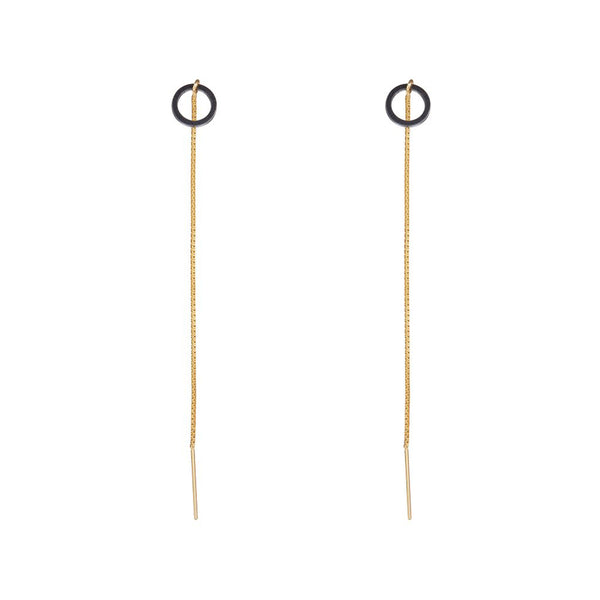 Bar Circle Threaders Earrings