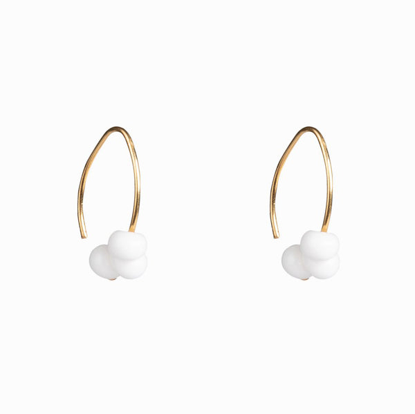 White Bead Earrings