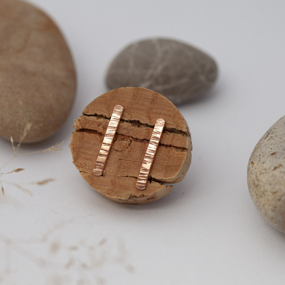 Textured Bar Copper Earrings