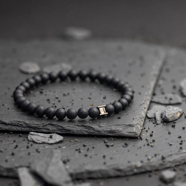 Deep Mat Black 6mm Stones Bracelet