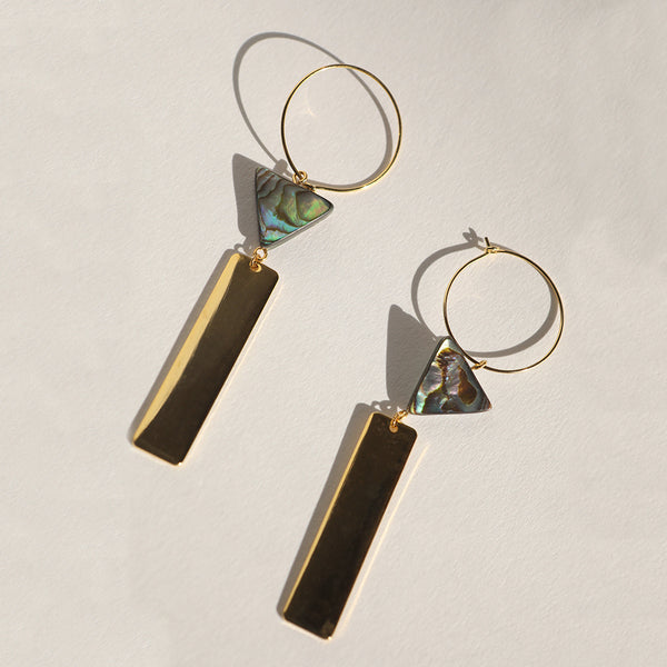 Creoles, Abalone Triangle Stone & Rectangle Earrings