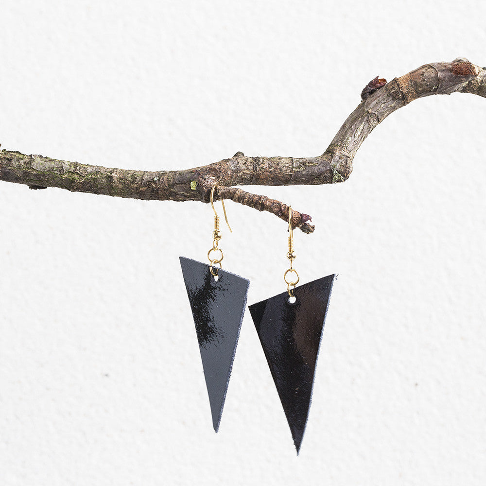 Triangle Leather Earrings
