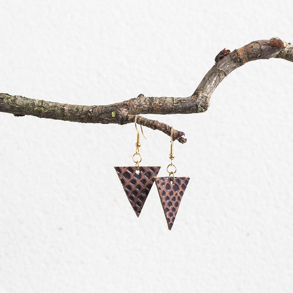 Triangle Leather Short Earrings