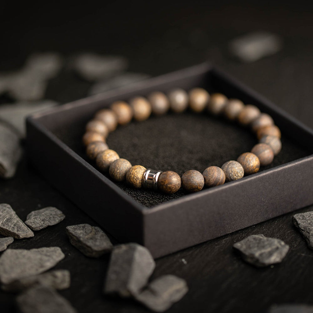Alpha Mat Brown Stones Bracelet
