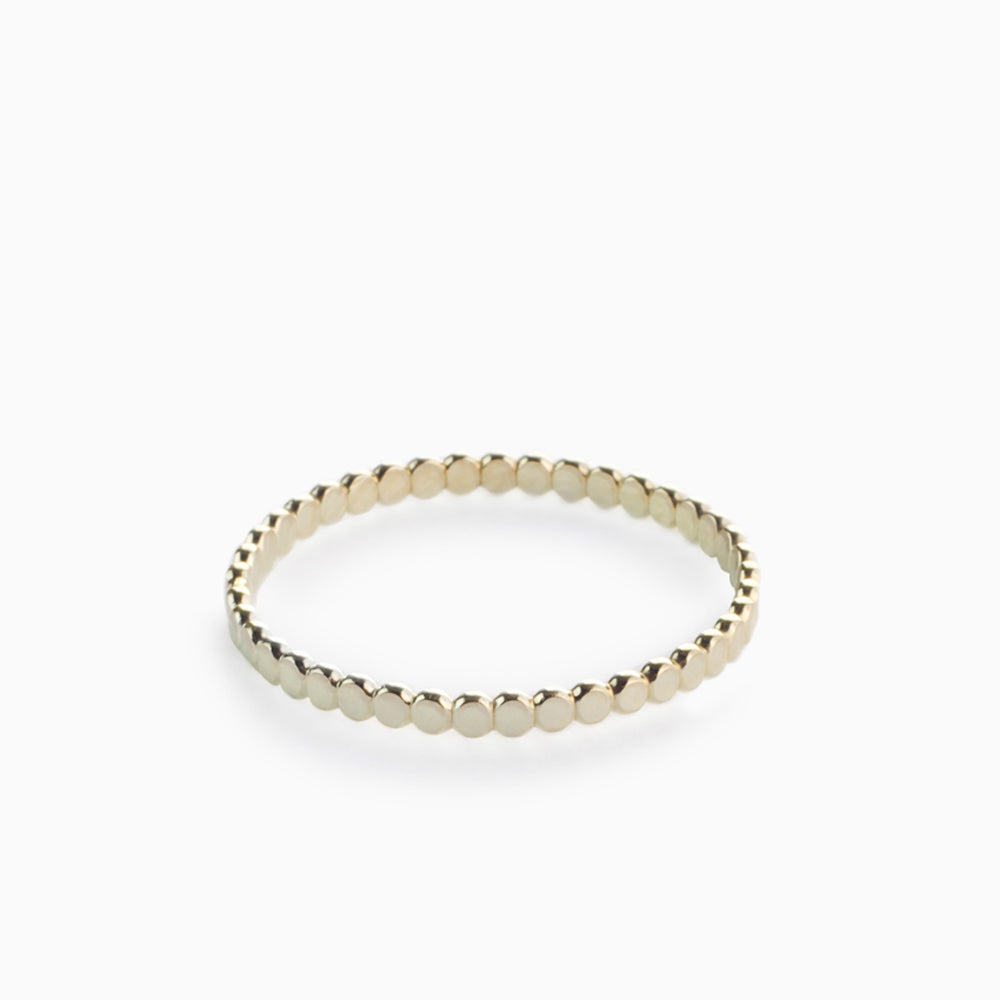 Thin Flattened Beaded Gold Ring