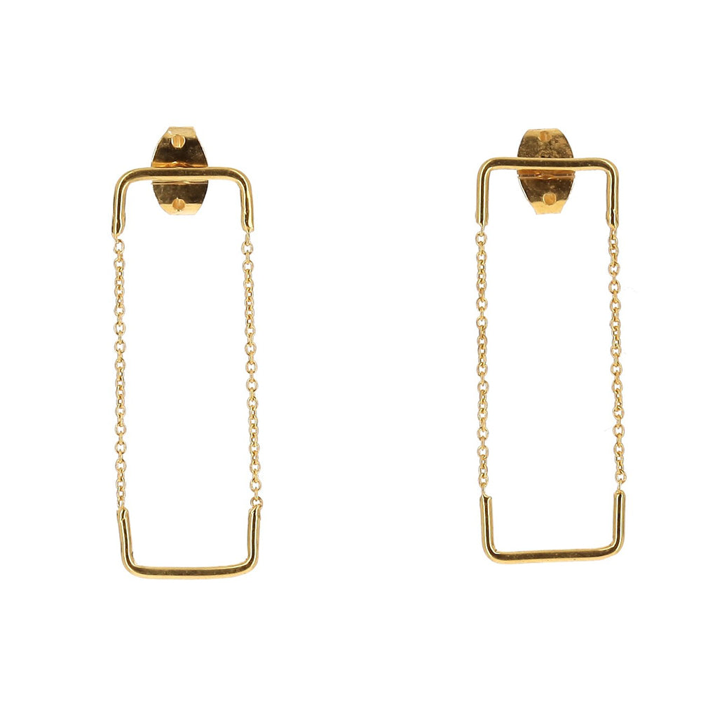 Double Unity Square Goldplated Earrings