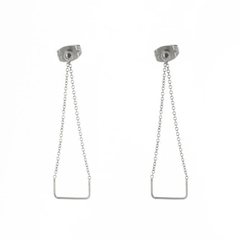 Unity Square Silver Earrings