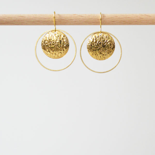 Circle & Textured Disk Earrings