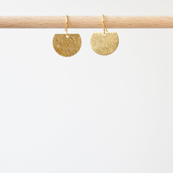 Half Textured Disk Earrings