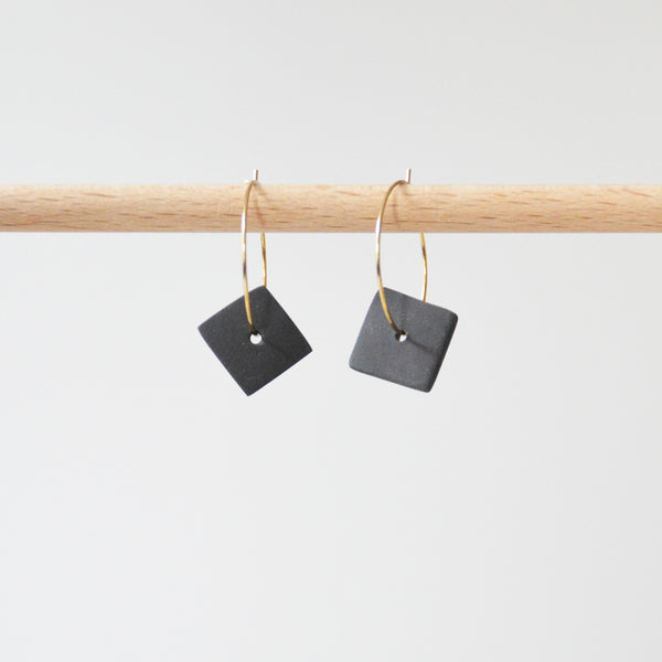 Creoles Black Porcelain Square Earrings