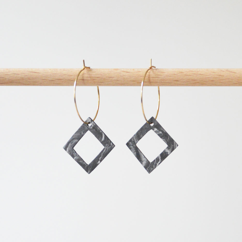 Creoles Marble Porcelain Square Hole Earrings
