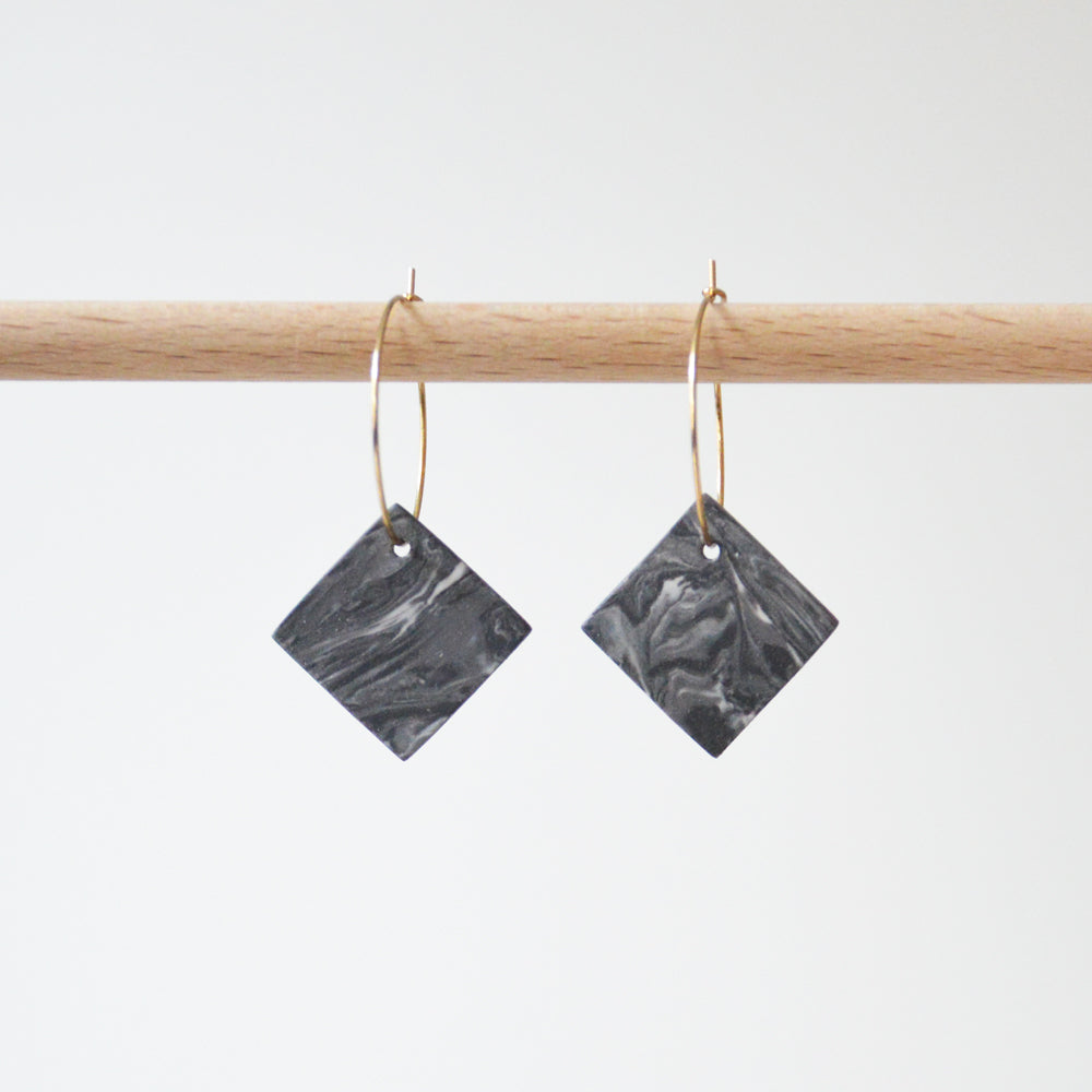 Creoles Marble Porcelain Square Earrings