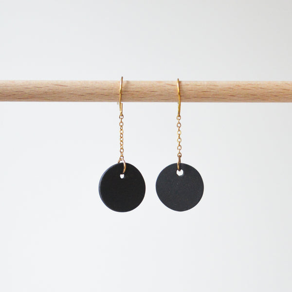 Black Porcelain Disk Chain Earrings