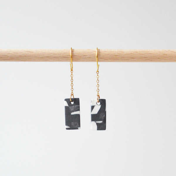 Marble Porcelain Rectangle Chain Earrings