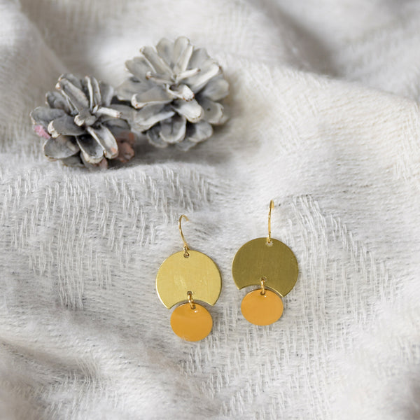 Enamelled Brass Earrings