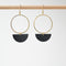 Circle & Half Moon Rubber & Brass Earrings