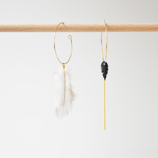 Asymmetric Creoles, Feather, Leaf Rubber & Brass Earrings
