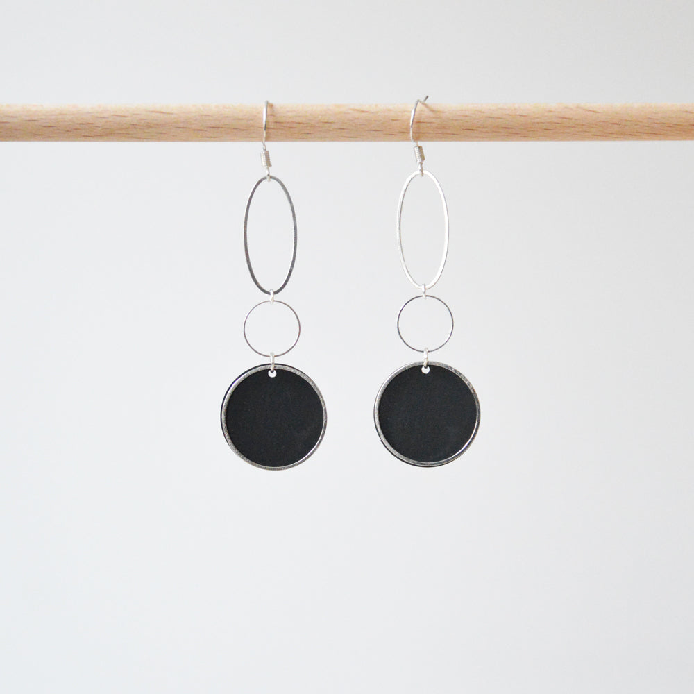 Circles Rubber & Silver Earrings