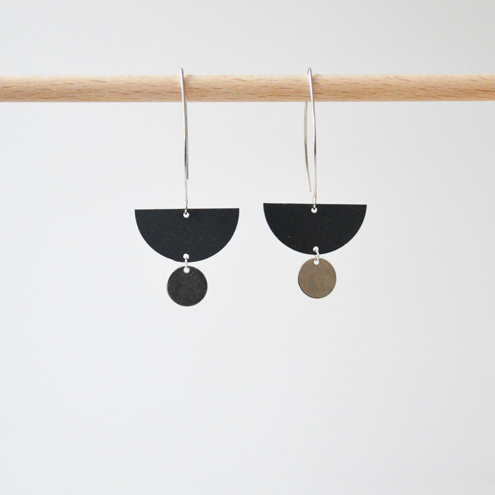 Half Moon & Disk Rubber & Silver Earrings