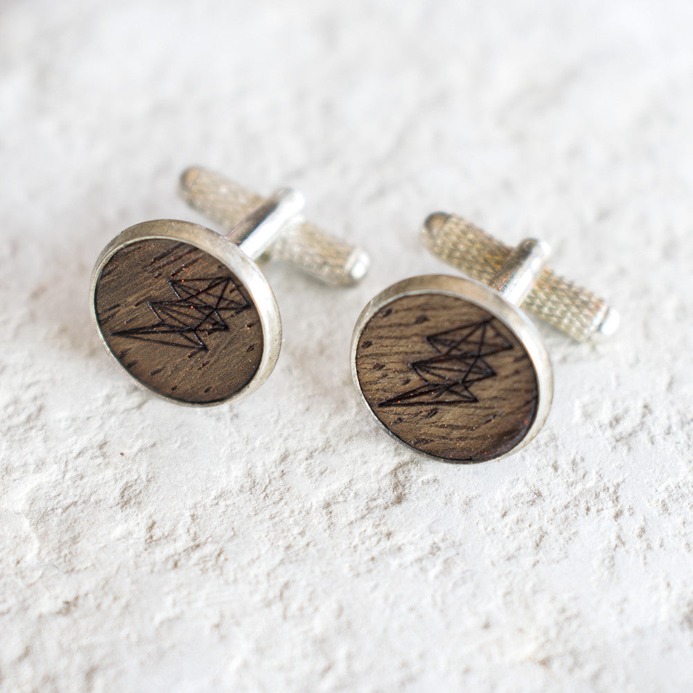 Wood Lightning Cufflinks