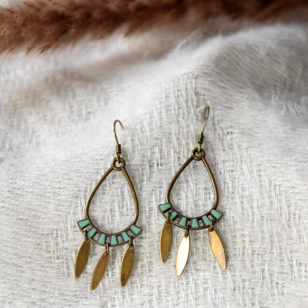 Ethnic Enamelled Brass Earrings