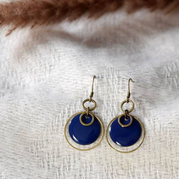 Enamelled Circle Brass Earrings