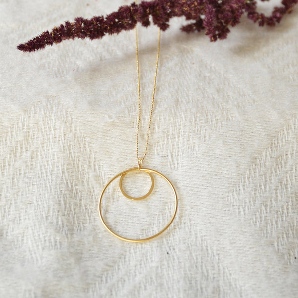 Double Circle Long Necklace