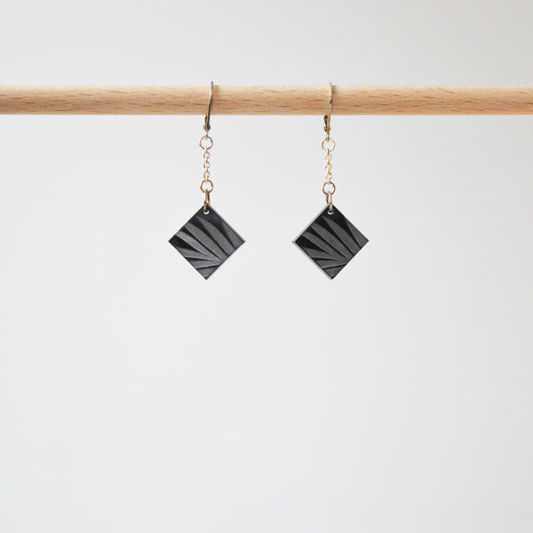 Black Losange Vegetal Print Earrings