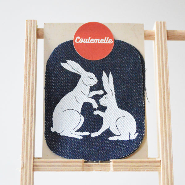 Rabbits Silkscreen Print Jeans Patches