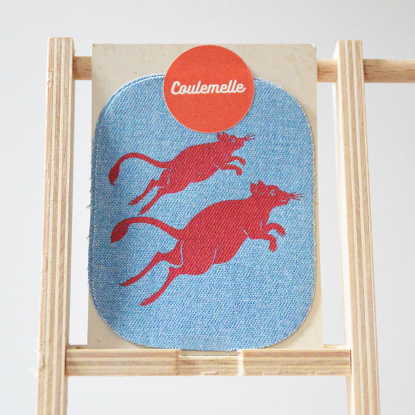 Rats Silkscreen Print Jeans Patches