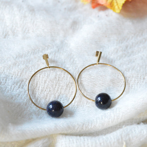 Big Circle Dark Blue Stone Earrings