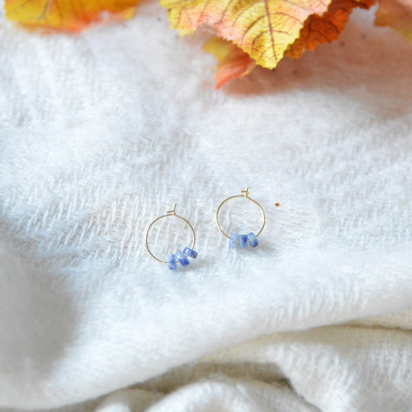 Creoles & Sodalite Stones Short Earrings