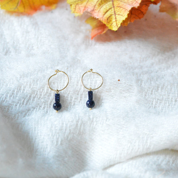 Creoles & Dark Blue Stones Short Earrings