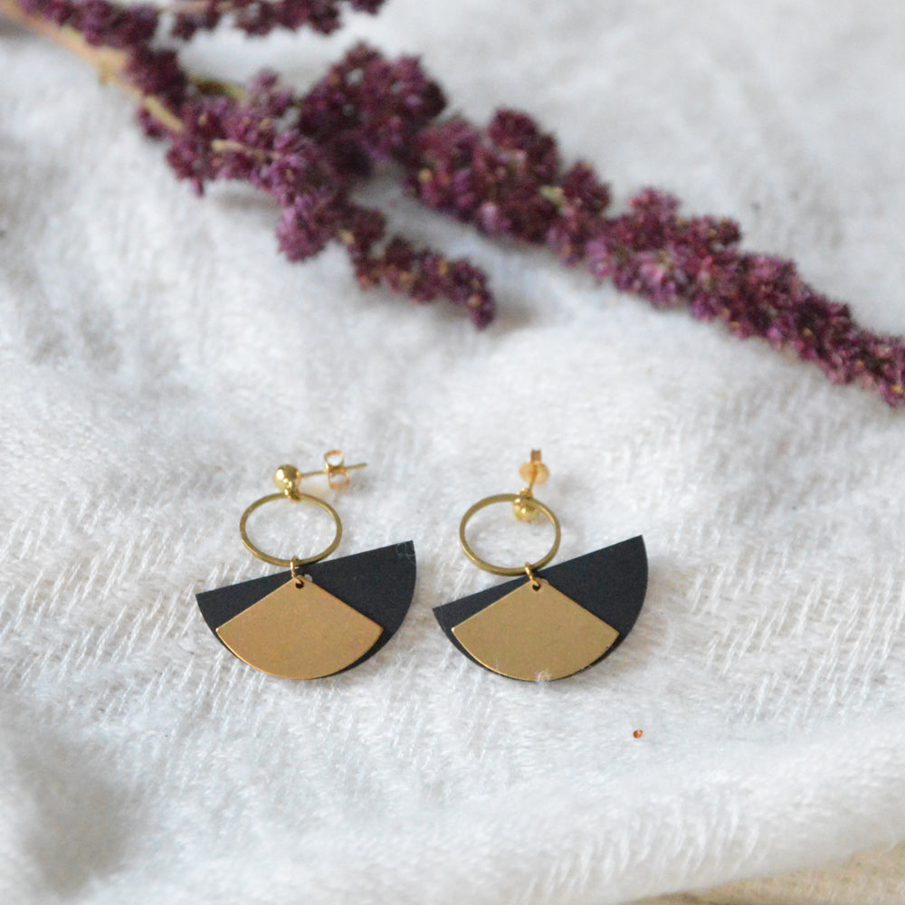 Half Moon & Fan Rubber & Brass Earrings
