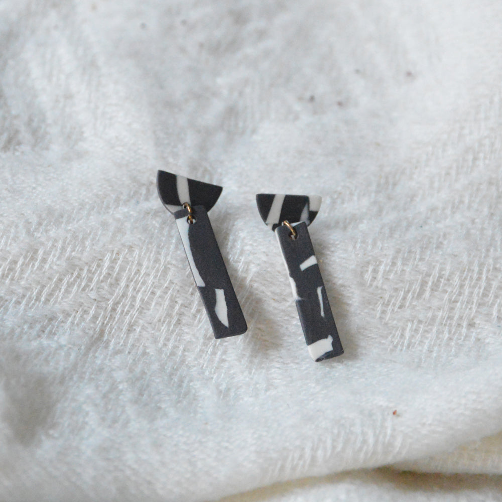 Marble Porcelain Half-Moon & Rectangle Earrings