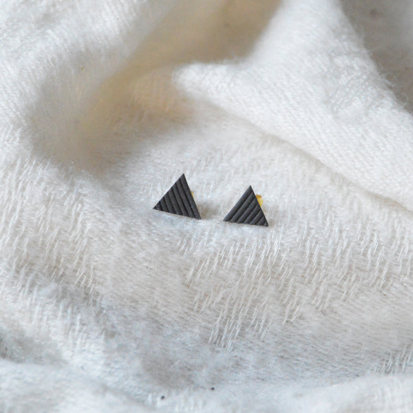 Black Porcelain Triangle Earrings